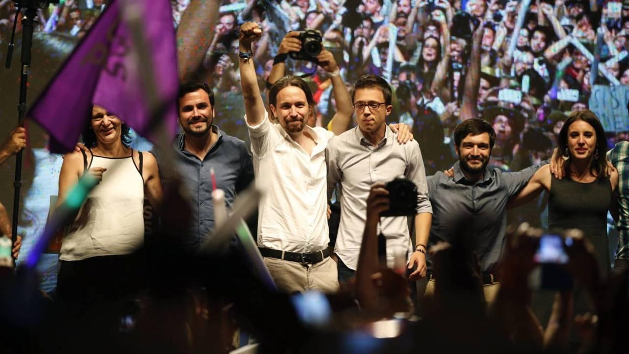 Unidos Podemos, en la plaza del Museo Reina Sofía.