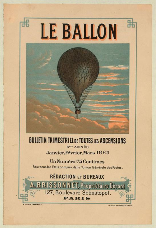 Uno de los carteles expuestos que muestra la fascinación de la época por los aerostatos.