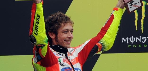 Valentino Rossi, en el podio de Le Mans el pasado GP de Francia