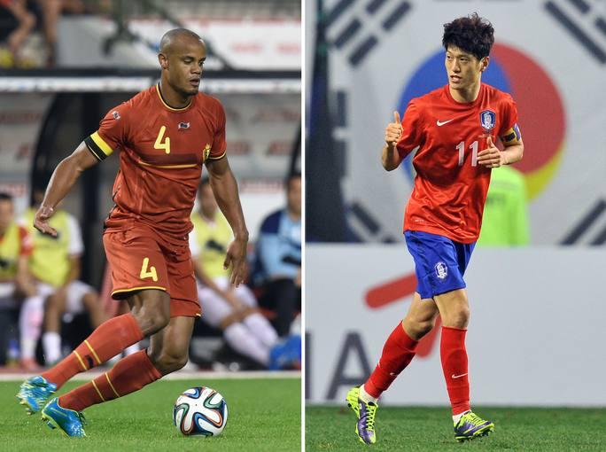 Vincent Kompany, de Bélgica, y Lee Chung-Yong, de Corea del Sur