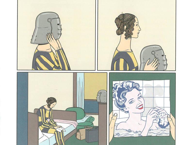 Viñetas inspiradas en obras de Domenico Ghirlandaio, Edward Hooper y Roy Lichtenstein