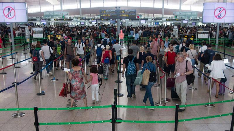 Vista de los accesos al control de seguridad del Aeropuerto de Barcelona-El Prat el pasado 7 de agosto