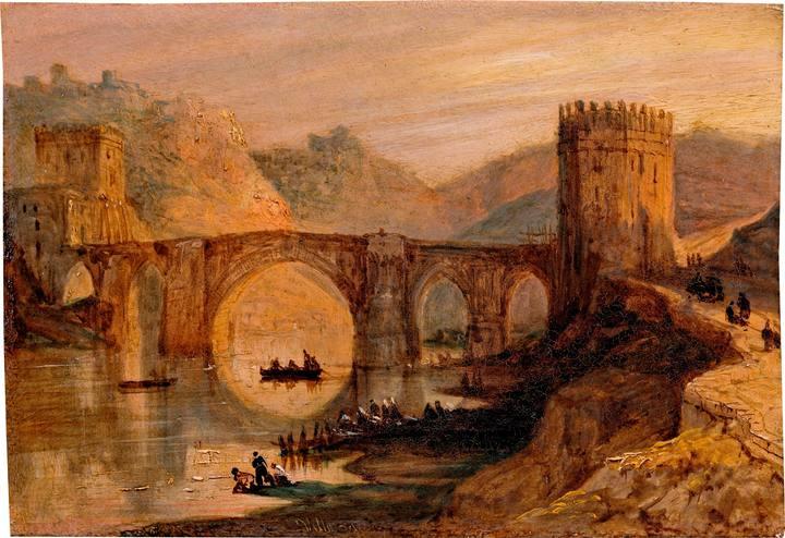 'Vista del puente de San Martín (Toledo)'. Díptico con 42 Vistas Monumentales de Ciudades Españolas. Peréz Villaamil