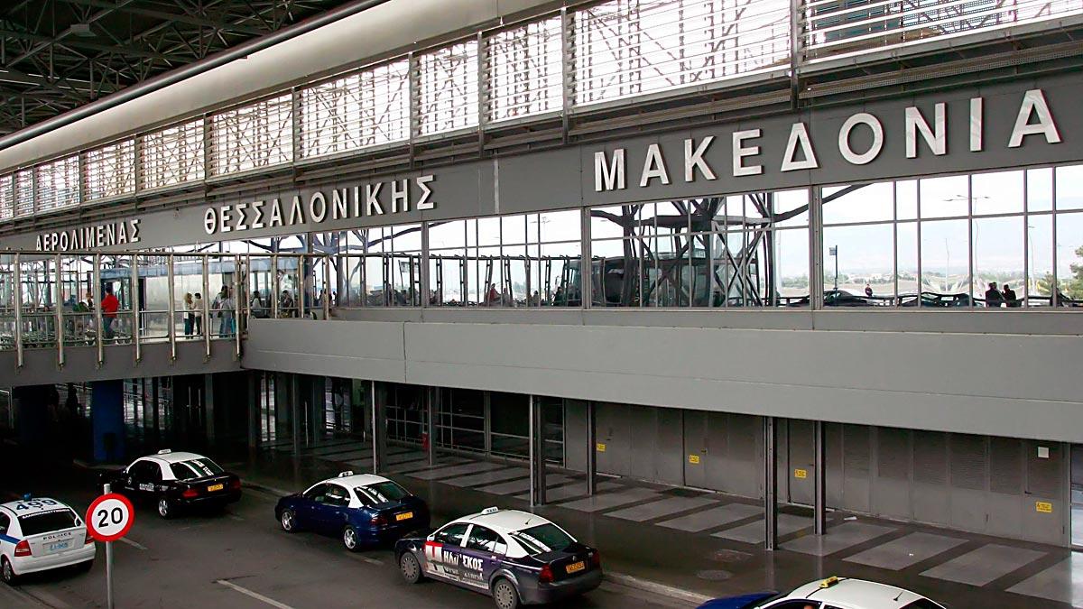 Vista de la fachada del aeropuerto de Tesalónica en Grecia