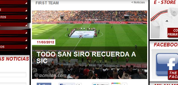 Imagen de la noticia del homenaje en la web del Milan