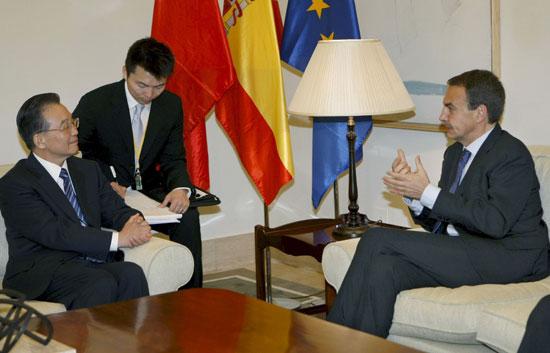 Wen Jiabao se reúne con José Luis Rodríguez Zapatero