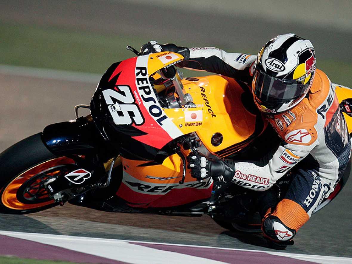 El español Dani Pedrosa (Honda RC 212 V) no pudo doblegar a su compañero de escudería, el australiano Casey Stoner (Honda RC 212 V), al final de los entrenamientos libres para el Gran Premio de Catar de MotoGP, mientras que su compatriota Nicolás Ter