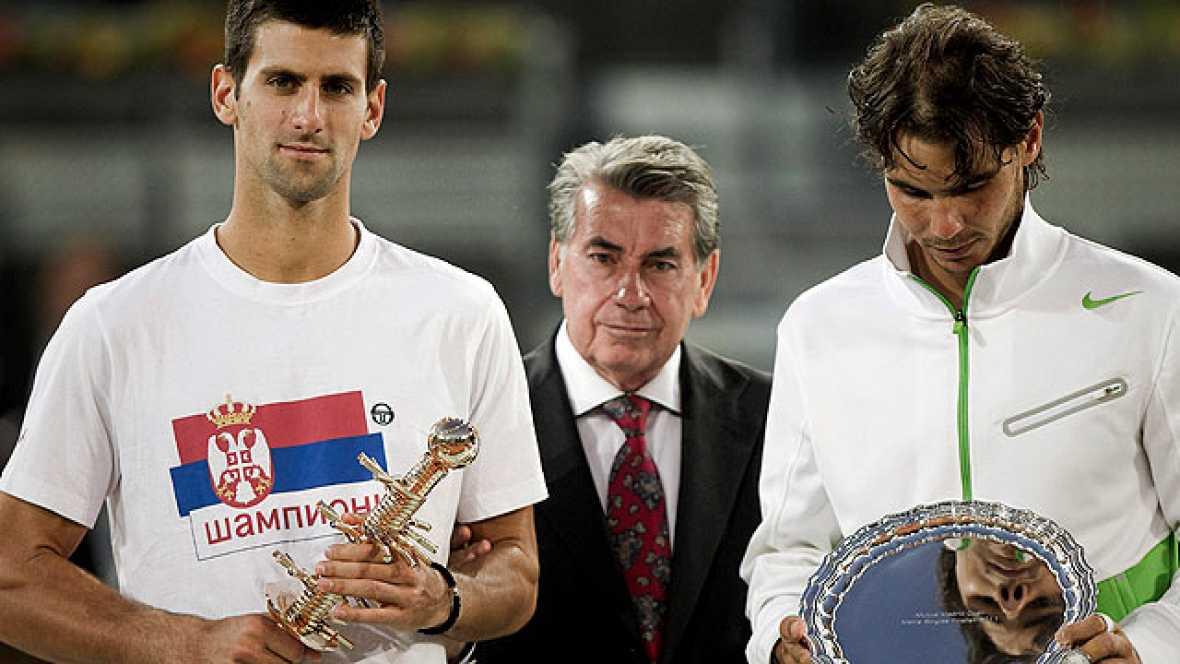 """La victoria de Djokovic sobre Nadal en el Masters de Madrid ha acercado mucho al serbio al número uno del mundo. """"El número uno está finiquitado"""", admitió Nadal, que deberá defender sus puntos en el Masters de Roma si quiere conservar el liderato de"""