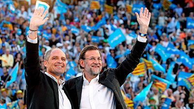 Rajoy arropa a Camps en Valencia