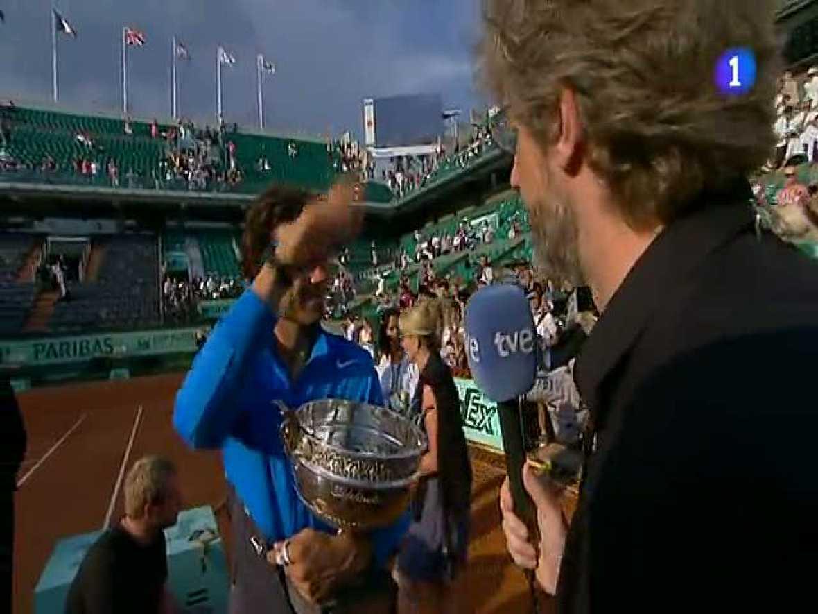 El español se mostraba exultante ante los mircrófonos de TVE tras lograr la victoria ante Federer en la final de Roland Garros 2011