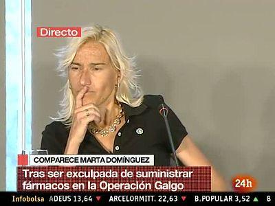 El momento más caliente de la rueda de prensa de Marta Domínguez ha tenido lugar cuando un periodista italiano ha cogido el turno de pregunta. La polémica sobre el nombre de un supuesto perro propiedad del marido de la palentina que apareción en la