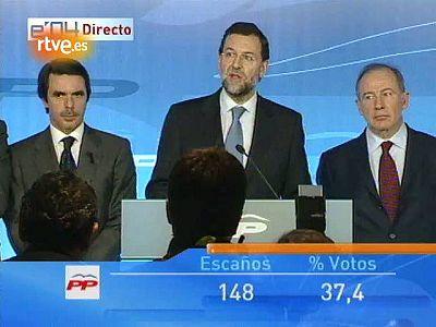 Discurso de Rajoy desde el balcón de Génova tras la derrota de 2004