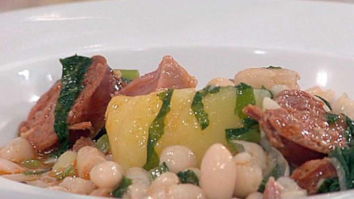 Pote con judías, grelos y ensalada de brotes (16/11/2011)