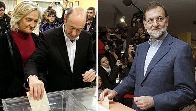 Rubalcaba y Rajoy votan en Madrid