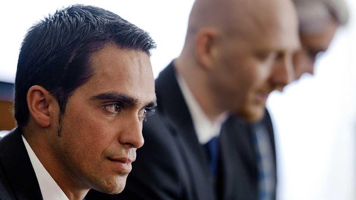 Alberto Contador afronta su tercer día en la vista de su caso por clembuterol. El martes se dedicó a la parte más técnica y científica del proceso que enfrenta en el Tribunal de Arbitraje (TAS) a Alberto Contador, por una parte, y a la Unión Ciclista