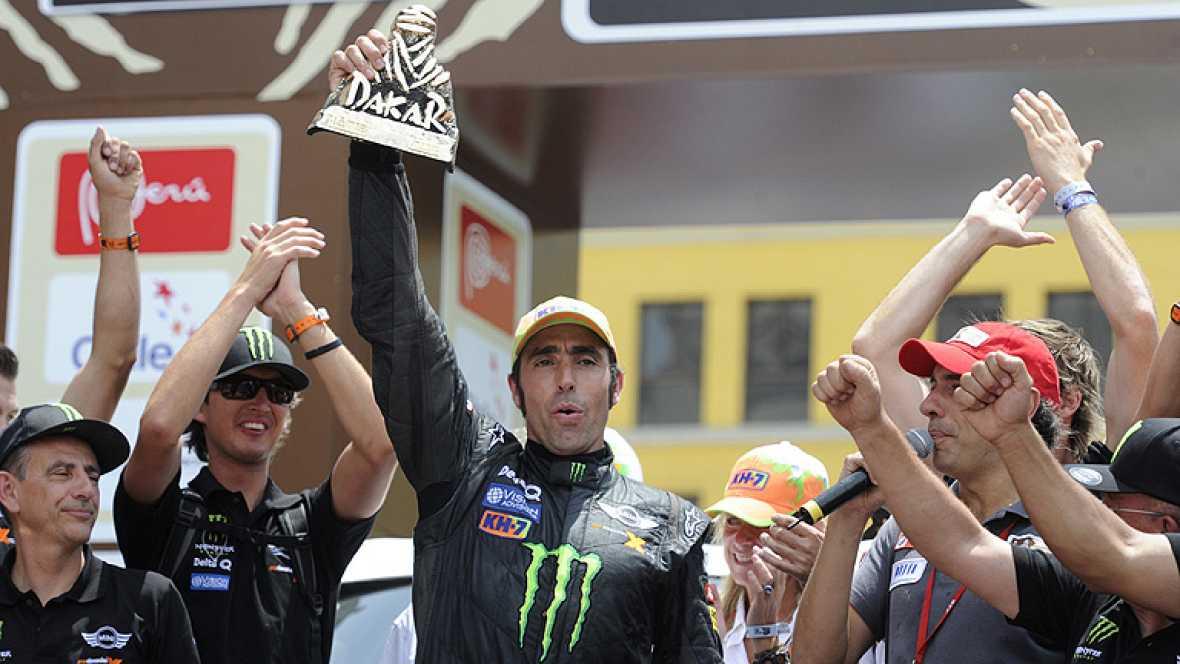 """El piloto español Joan 'Nani' Roma (Mini) se ha mostrado """"muy  satisfecho con la carrera"""" que ha realizado este domingo, la última  del Rally Dakar de 2012 y en la que ha logrado el segundo puesto en  la clasificación general, a 41:56 de su compañero"""