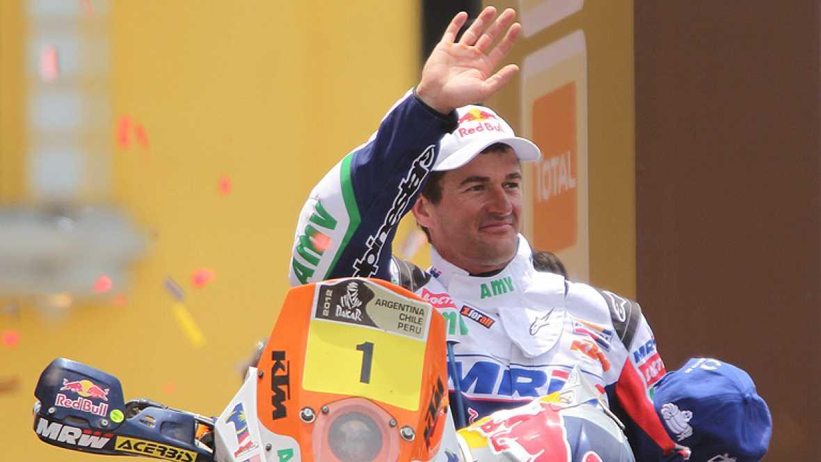 """El piloto español Marc Coma (KTM) se ha mostrado """"muy contento""""  por el resultado global en la carrera, aunque el segundo clasificado  de la categoría de motos en el Rally Dakar 2012, tiene la sensación  de que en está edición ha luchado """"contra much"""