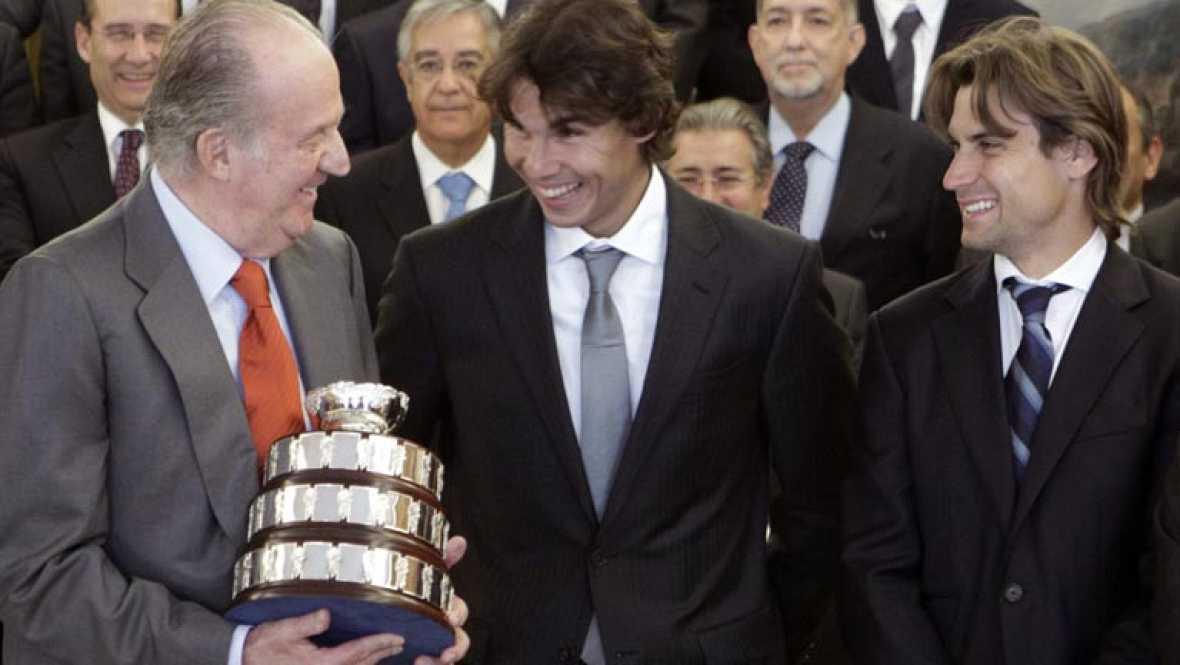 Recepción de honor para los vencedores de la Copa Davis de Tenis 2011. El equipo español ha sido recibido por el Rey D. Juan Carlos y por el presidente del Gobierno, Mariano Rajoy, en sendas visitas a La Zarzuela y a la Moncloa