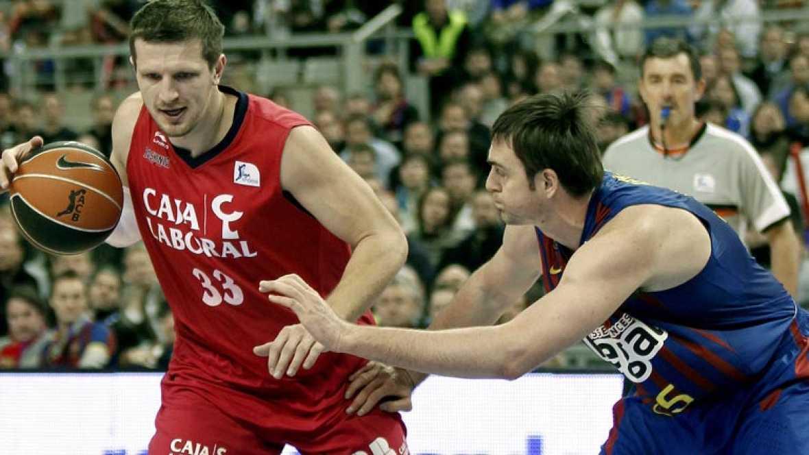 El Barça se clasifica para la final de la Copa de baloncesto tras vencer por 66-57 al Caja Laboral, con un gran Erazem Lorbek.