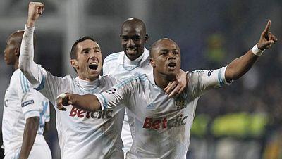 Un gol de Ayew en el tiempo de descuento ha dado la victoria al Olympique de Marsella en el partido de ida de octavos de final de la Liga de Campeones frente al Inter de Milán.