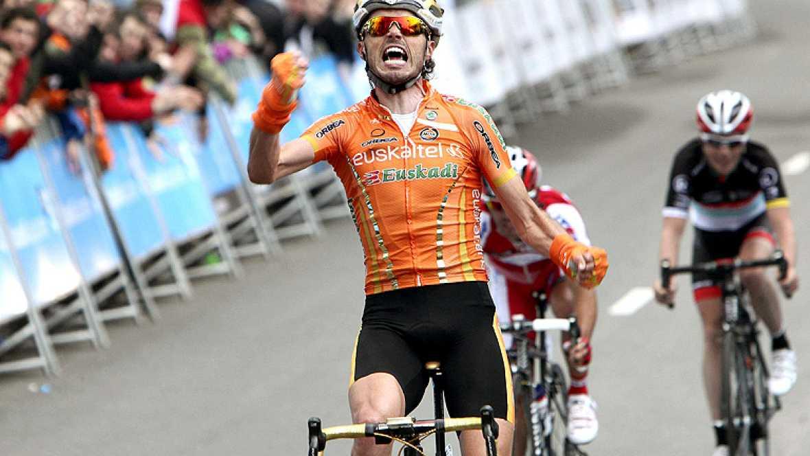 El ciclista español Samuel Sánchez, del Euskaltel-Euskadi, se  convirtió en el nuevo líder de la Vuelta al País Vasco, tras  imponerse en la tercera etapa, disputada entre Vitoria y el final en  el Santuario de Arrate sobre 164 kilómetros, donde el a