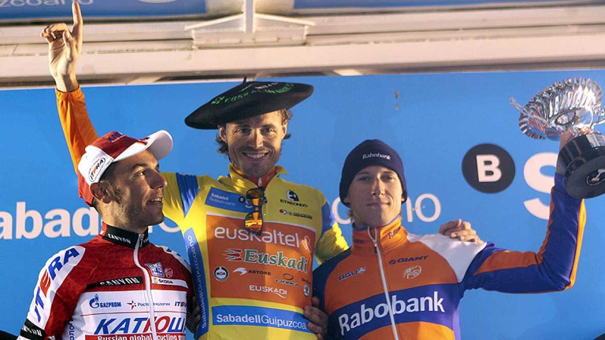 El ciclista español Samuel Sánchez (Euskaltel-Euskadi) se ha  adjudicado la 52 edición de la Vuelta al País Vasco al imponerse en  la crono final de Oñati marcando un tiempo de 28:48 en los 18,9  kilómetros de recorrido y superar al holandés Bauke Mo
