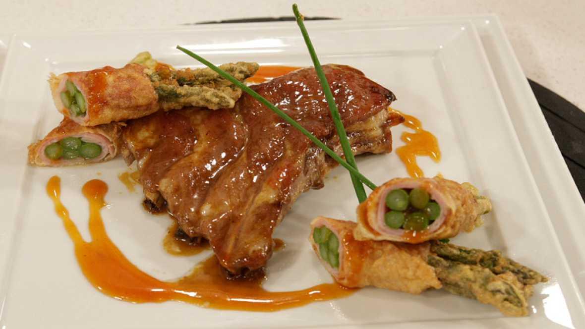 Saber cocinar - Costillar de cerdo con crujientes de espárragos y salsa agridulce (09/04/2012)