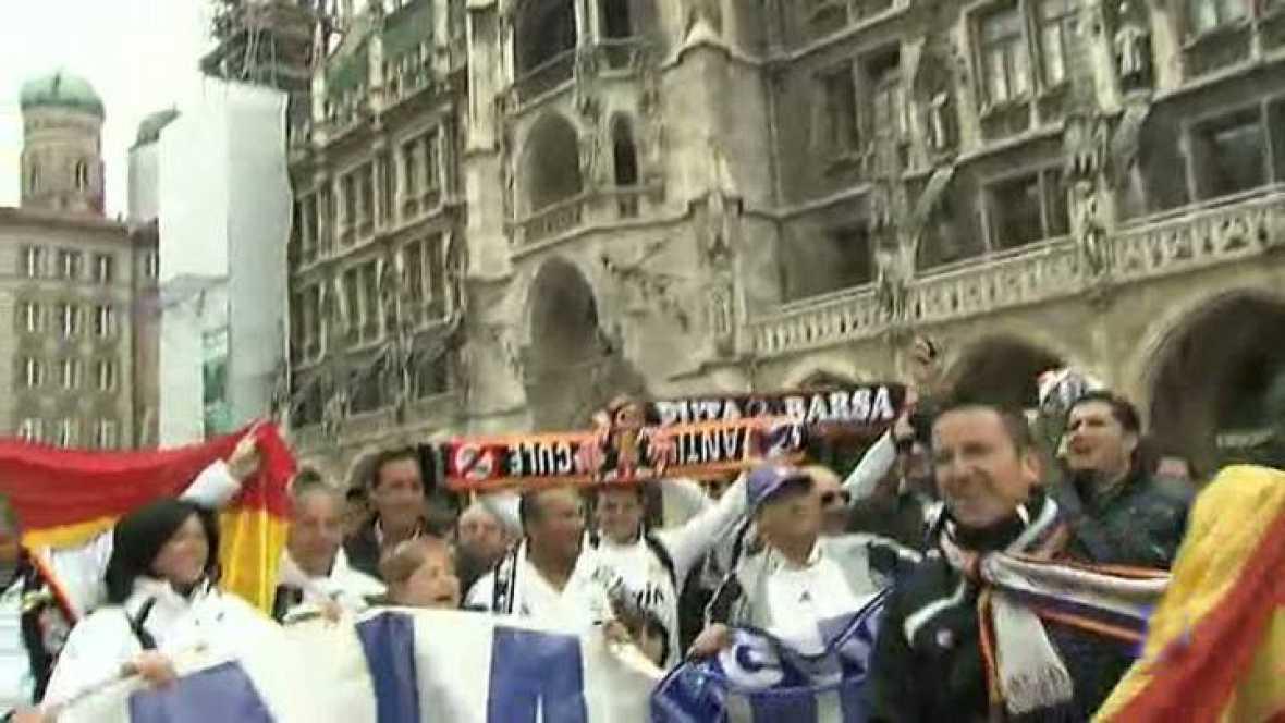 La pasión que despierta el Madrid de Mourinho y las ganas de lograr la Décima han convocado a 3.000 aficionados merengues en las gradas del Allianz Arena de Múnich.