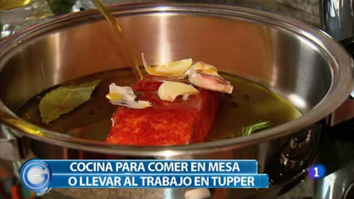Salmón con verduras para llevar en el tupper