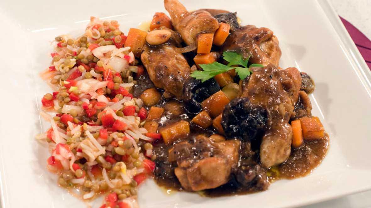 Pollo al brandy con ensalada de legumbre