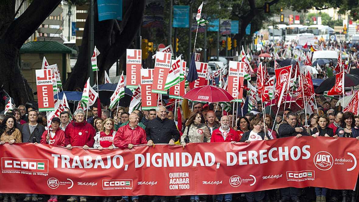 Las protestas de los sindicatos contra la reforma laboral marcan el primero del trabajo