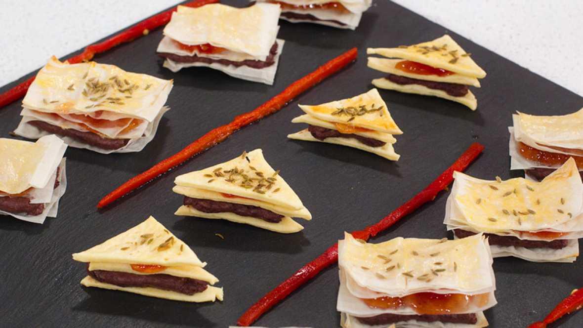 Saber cocinar - Postre - Mini lasañas de pasta brick y crema de morcilla