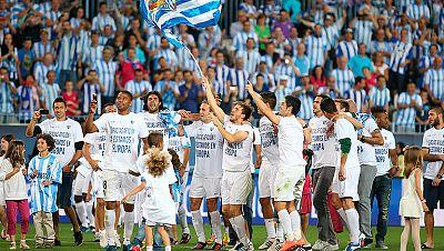 El gol de Rondón llevó la locura a La Rosaleda, que celebró a lo grande la histórica clasificación de su equipo para la Champions League de la próxima temporada.