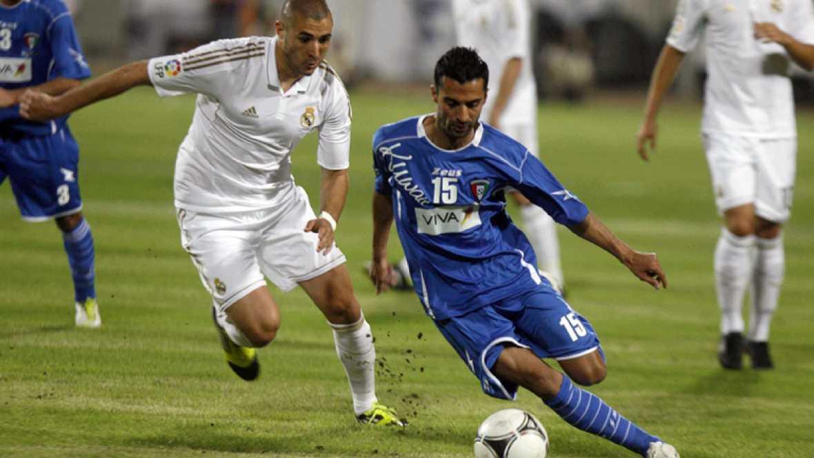 El Real Madrid ha cerrado la temporada con un triunfo (0-2) ante la selección de Kuwait, que se saldó con goles de  Di María y Cristiano Ronaldo, además de tres millones de euros en el  bolsillo, la principal causa del viaje al Golfo Pérsico.