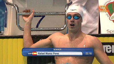 El nadador español Rafa Muñoz ha ganado la final de los 50 metros mariposa con un tiempo de 23,16 segundos en los campeonatos de Europa que se celebran en Debrecen (Hungría).