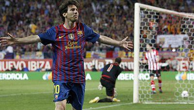 Lionel Messi ha hecho el segundo gol del Barcelona ante el Athletic de Bilbao en la final de Copa. El argentino ha disparado muy fuerte, ante lo que Gorka Iraizoz no ha podido hacer nada.