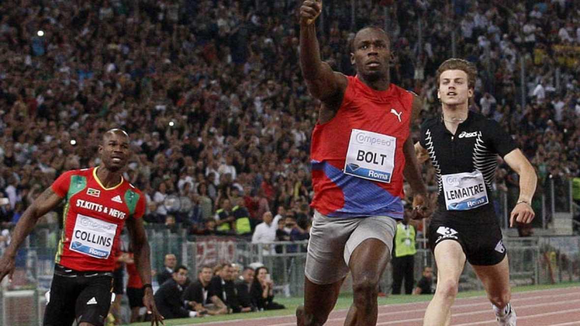 El jamaicano Usain Bolt, el ser humano más rápido del planeta (9.58), recuperó en Roma su mejor versión al imponerse en la Golden Gala con la mejor marca mundial del año (9.76), pese a una defectuosa puesta en acción.