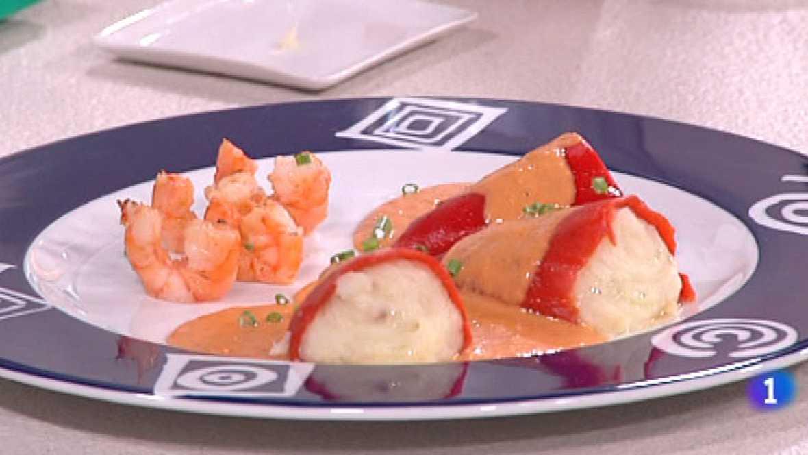 Cocina con Sergio - Pimientos rellenos de bacalao con langostinos - ver ahora
