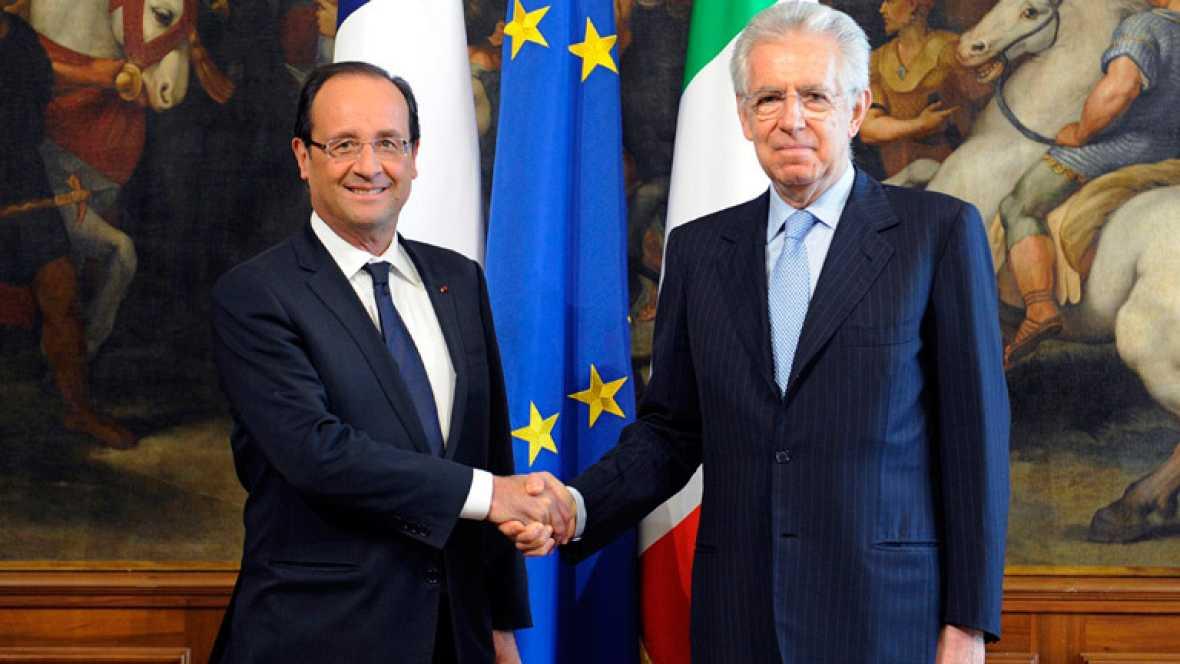 La reunión del sábado sobre España es importante, Ha llevado a una solución aunque todavía hay que aplicarla. Palabras del presidente francés Francois Hollande y del primer ministro italiano, Mario Monti tras entrevistarse en Roma.