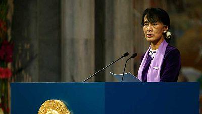 La líder opositora Aung San Suu Kyi ha aceptado su Premio Nobel de la Paz