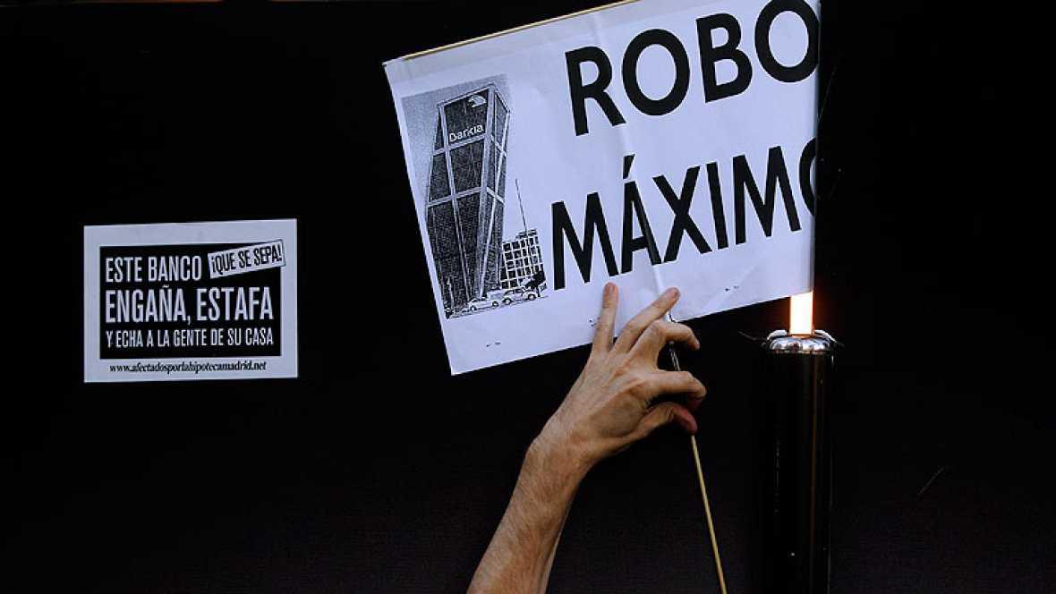 Protesta ante la sede de Bankia en Madrid