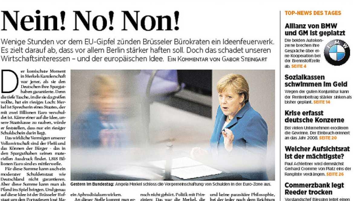 La prensa alemana recupera expresiones como la canciller 'de hierro' para reflrjar la posición de Merkel de cara a la decisiva cumbre europea de este jueves.