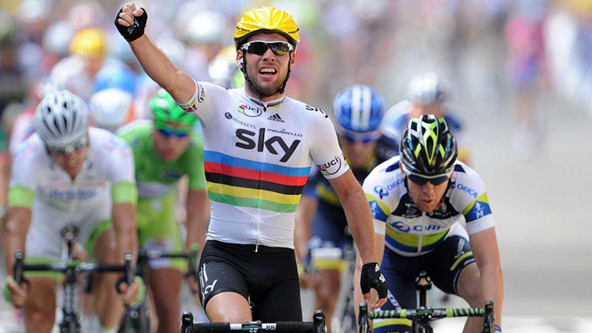 El británico Mark Cavendish (Sky) se impuso hoy en la tercera etapa del Tour de Francia, disputada entre las localidades belgas de Visé y Tournai, de 207,5 kilómetros, mientras que el suizo Fabian Cancellara (RadioShack) se mantiene líder de la gener
