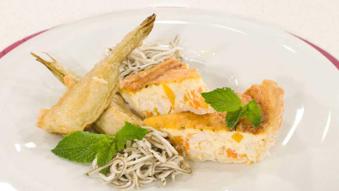 Tarta salada de ave con berenjenas de almagro en tempura