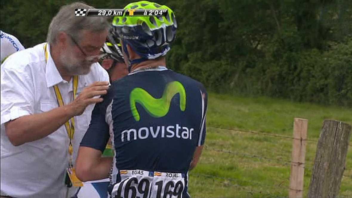 El español José Joaquín Rojas, del Movistar, ha abandonado el Tour de Francia tras sufrir una caída a 30 kilómetros de la meta de la tercera etapa, con final en Boulogne-sur-Mer. El ciclista de Murcia se vio implicado en una aparatosa caída provocada
