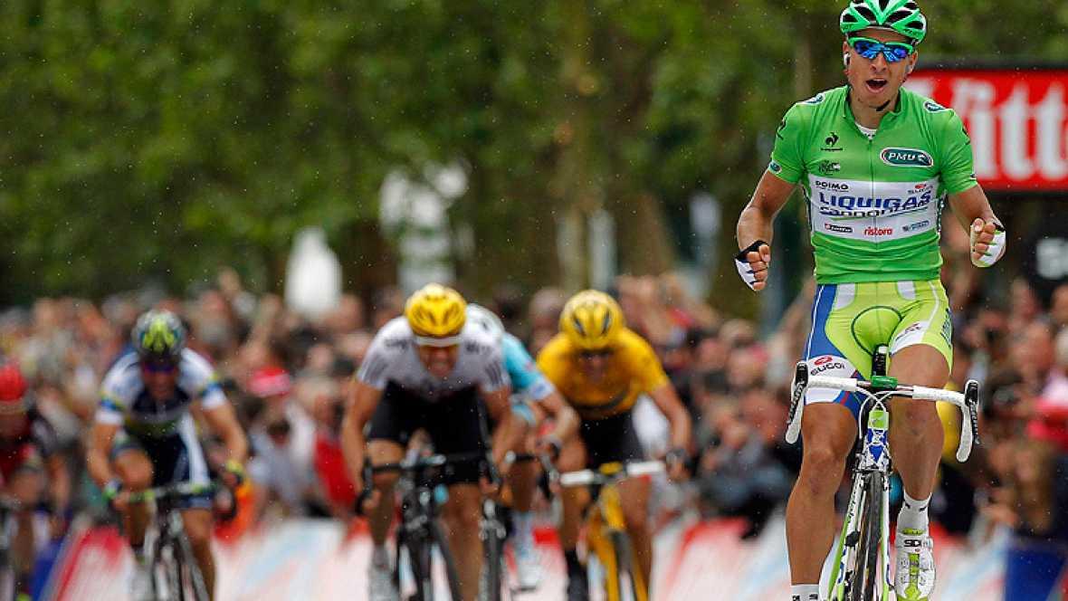 El corredor eslovaco Peter Sagan, del Liquigas, se adjudicó la  tercera etapa del Tour de Francia, disputada entre Orchies y  Boulogne-sur-Mer sobre 197 kilómetros, por delante del noruego Edvald  Boason Hagen (Sky) y el también eslovaco Peter Velits
