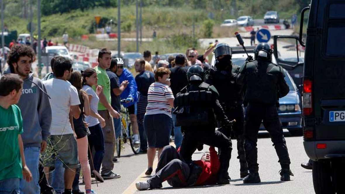 Barricadas de los mineros en su camino a Madrid