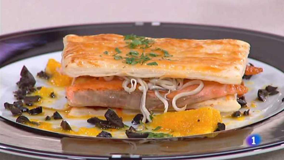 Cocina con Sergio - Milhojas de salmón con pimientos caramelizados - Ver ahora