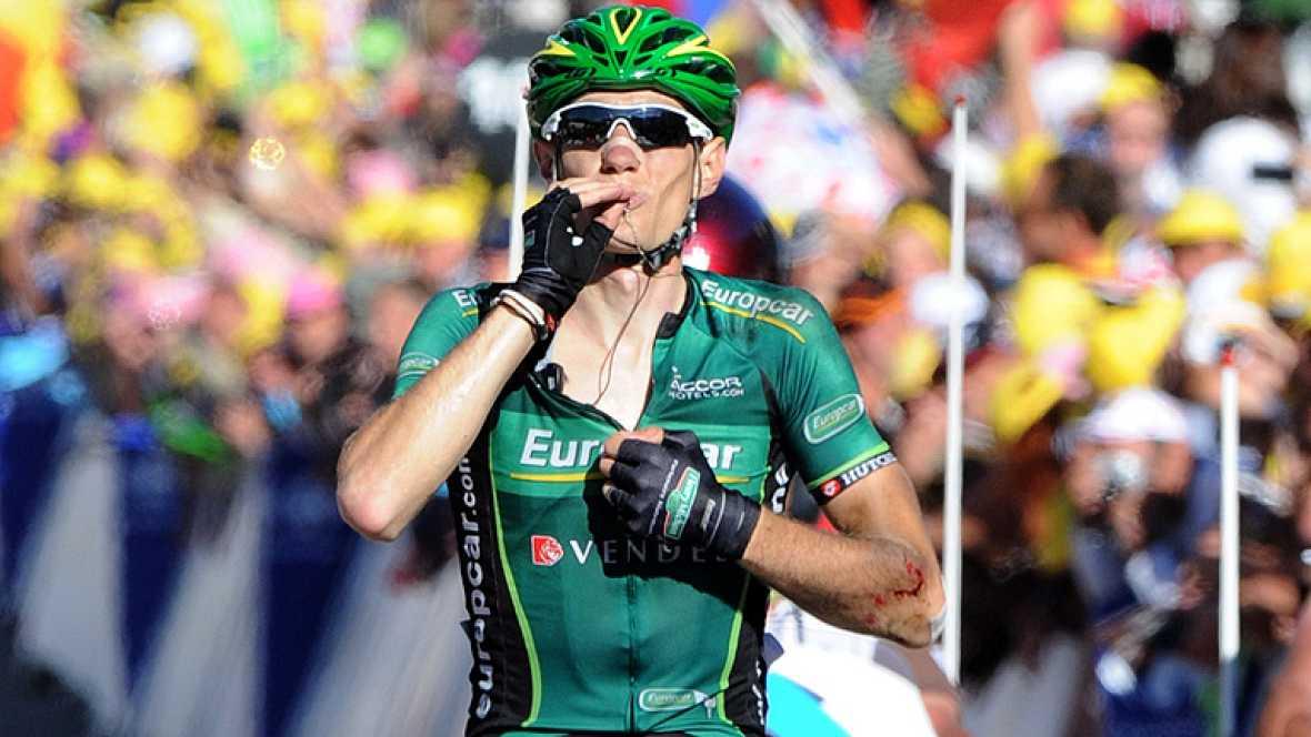 El corredor francés Pierre Rolland, del Europcar, se ha adjudicado  este jueves en solitario la undécima etapa del 99 Tour de Francia,  disputada entre Albertville y La Toussuire sobre 148 kilómetros,  mientras el británico Bradley Wiggins (Sky) cons