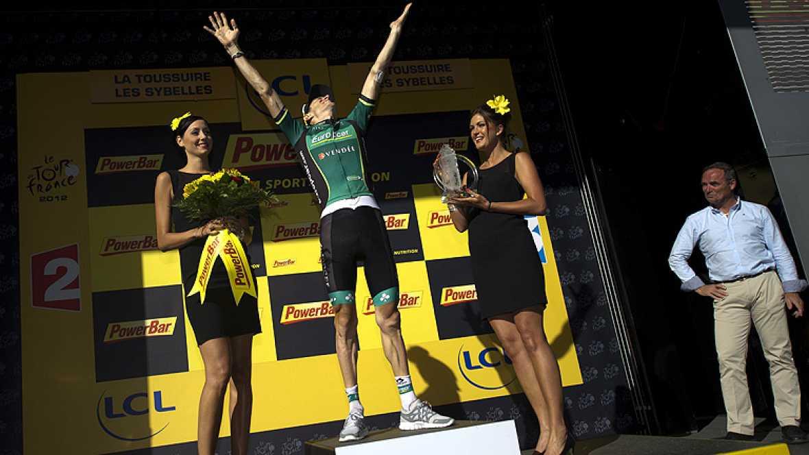 El ciclista de Europcar Pierre Rolland ha logrado la victoria en undécima etapa del Tour de Francia 2012 al traspasar la meta en solitario tras una dura etapa que ha dejado muy tocado a Cadel Evans.